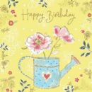 "BIRTHDAY CARD ""GLITTER FLOWERS DESIGN"" LARGE SQUARE SIZE 6.25"" x 6.25"" II0563"